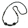 Statement Black Ceramic, Glass, Shell Beads Long Necklace - 104cm Long