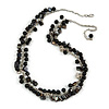 Statement Glass, Nugget Silver Tone Chain Necklace in (Black) - 60cm L/ 8cm Ext