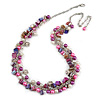 Statement Glass, Nugget Silver Tone Chain Necklace in (Pink, Purple, Cream) - 60cm L/ 8cm Ext