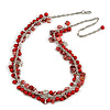 Statement Glass, Nugget Silver Tone Chain Necklace in (Red) - 60cm L/ 8cm Ext