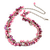 Statement Pink Glass, Magenta Nugget Silver Tone Chain Necklace - 60cm L/ 8cm Ext