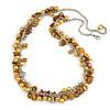 Statement Lemon Yellow Glass, Antique Yellow Nugget Silver Tone Chain Necklace - 60cm L/ 8cm Ext