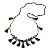 Statement Long Sea Shell, Crystal and Acrylic Bead with Multi Cotton Tassel Necklace (Black/ Gold) - 96cm L