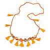 Statement Long Sea Shell, Crystal and Acrylic Bead with Multi Cotton Tassel Necklace (Orange/ Gold) - 96cm L