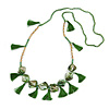 Statement Long Sea Shell, Crystal and Acrylic Bead with Multi Cotton Tassel Necklace (Green/ Gold) - 96cm L