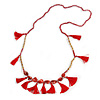 Statement Long Sea Shell, Crystal and Acrylic Bead with Multi Cotton Tassel Necklace (Red/ Gold) - 96cm L