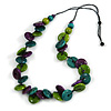 Statement Button Wood Bead Black Cord Necklace (Purple/ Teal/ Lime Green) - 84cm L
