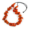 Statement Button Wood Bead Black Cord Necklace (Orange) - 84cm L