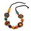 Unique Multicoloured Wood Bead Black Cord Necklace - 60cm L