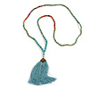 Ethnic Long Beaded Light Blue Silk Tassel Necklace - 88cm Long/ 10cm Tassel