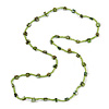 Classic Lime/ Green Glass Bead, Sea Shell Nugget Long Necklace - 100cm Long