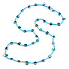 Classic Light Blue Glass Bead, Sea Shell Nugget Long Necklace - 100cm Long