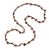 Classic Brown Glass Bead, Sea Shell Nugget Long Necklace - 100cm Long