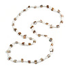 Classic Snow White Glass Bead, Antique White Sea Shell Nugget Long Necklace - 100cm Long