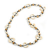 Off White/ Natural Round and Oval Wooden Bead Cotton Cord Necklace - 84cm Long