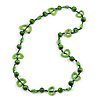Lime Green Round and Oval Wooden Bead Cotton Cord Necklace - 84cm Long