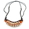 Statement Sea Shell, Orange/ Brown Wood Bead Black Cotton Cord Necklace - 42cm L (Min)/ Adjustable