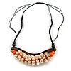 Statement Sea Shell, Orange/ Brown Wood Bead Black Cotton Cord Necklace - 42cm L (Min)/ Adjustable