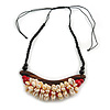 Statement Sea Shell, Wood Bead Cotton Cord Necklace - 42cm L (Min)/ Adjustable