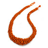 Chunky Burnt Orange Glass Bead and Semiprecious Necklace - 56cm Long