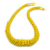 Chunky Lemon Yellow Glass Bead and Semiprecious Necklace - 56cm Long