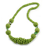 Chunky Light Green Glass and Shell Bead Necklace - 70cm L