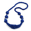 Chunky Blue Glass and Shell Bead Necklace - 70cm L