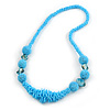 Chunky Light Blue Glass and Shell Bead Necklace - 70cm L
