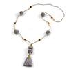 Light Grey Pom Pom, Tassel, Transparent Glass Bead Long Necklace - 88cm L/ 10cm Tassel