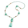 Mint Green Glass Bead, Pom Pom, Tassel Long Necklace - 88cm L/ 10cm Tassel
