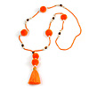 Bright Orange/ Neon Orange Glass Bead, Pom Pom, Tassel Long Necklace - 88cm L/ 10cm Tassel