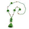 Spring Green Glass Bead, Pom Pom, Tassel Long Necklace - 88cm L/ 10cm Tassel
