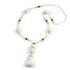 Snow White Glass Bead, Pom Pom, Tassel Long Necklace - 88cm L/ 10cm Tassel