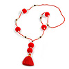 Scarlet Red Glass Bead, Pom Pom, Tassel Long Necklace - 88cm L/ 10cm Tassel