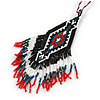 Black/ Red/ White Glass Bead Geometric Pattern Pendant with Long Cotton Cord - 80cm Long