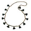 Boho Style Bronze Glass Bead with Dark Green Cotton Tassel Long Necklace - 96cm L