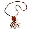 Brown Wood, Glass, Sea Shell, Tree Seed Bead with Pom Pom Tassel Long Necklace - 80cm L/ 16cm Tassel