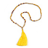 Long Wood, Glass, Seed Beaded Necklace with Silk Tassel (Nude, Yellow, Brown) - 80cm L/ 11cm Tassel