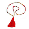 Long Wood, Glass, Seed Beaded Necklace with Silk Tassel (Nude, Red, Brown) - 80cm L/ 11cm Tassel