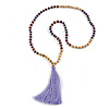Long Wood, Glass, Seed Beaded Necklace with Silk Tassel (Nude, Purple, Lavender, Brown) - 80cm L/ 11cm Tasse