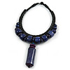Statement Chunky Bone and Wood Bead with Black Rubber Cord Necklace In Dark Blue/ Violet - 48cm Long
