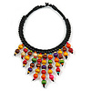Statement Multicoloured Wood Bead Fringe with Rubber Cord Necklace - 46cm L/ 11cm Front Drop