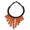 Statement Orange Wood Bead Fringe with Rubber Cord Necklace - 46cm L/ 11cm Front Drop