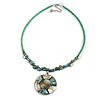 Green Glass Bead Wire Necklace with Shell & Mother of Pearl Medallion In Silver Tone - 50cm L/ 5cm Ext