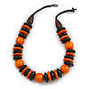 Statement Orange/ Black Round and Button Wood Bead Necklace - 56cm L