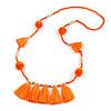 Boho Style Glass Beaded Pom Pom, Tassel Long Necklace In Bright Orange - 90cm L