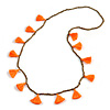 Boho Style Bronze Glass Bead with Neon Orange Tassel Long Necklace - 96cm L
