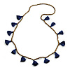 Boho Style Bronze Glass Bead with Dark Blue Tassel Long Necklace - 96cm L
