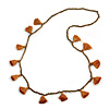 Boho Style Bronze Glass Bead with Mustard Brown Tassel Long Necklace - 96cm L