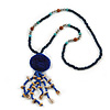 Dark Blue Wood, Glass, Sea Shell, Tree Seed Bead with Pom Pom Tassel Long Necklace - 80cm L/ 16cm Tassel